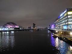 Buildings of the River Clyde at night (luckypenguin) Tags: scotland glasgow riverclyde night nightphotography bbc bbcscotland armadillo sec