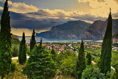 Lago di Garda seen from the Belvedere (echumachenco) Tags: summer september cypress bush green vegetation view panorama belvedere lake water blue sky cloud mountain mountainside mountains town village torbole lagodigarda gardasee trentino italy italien italia nikond3100