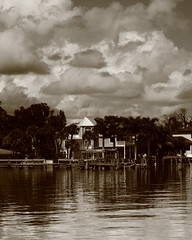 HOUSE SEPIA (R. D. SMITH) Tags: house water clouds blackandwhite