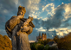 Statue of St. John of Nepomuk (Frank Lammel) Tags: dom buildings citytour limburger architecturalmonument postcard cityscape sightseeing limburglahn bishop georgsdom landmark lahn beautiful light place christian art gothic religion historical building church architecture limburg germany dome cathedral nepomuk statue limburgerdom limburgweilburg sunset