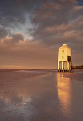 Lighthouse Rise (Captain Nikon) Tags: nikond500 reflections sunrise lighthouse seaside southwest somerset burnhamonsea