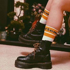 Dr Martens Love (New Rock Boots & Dr Martens) Tags: drmartens docs black tall plarform steeltoe girl outfit used trashed scuffed worn booted finehaircell originals airware laces