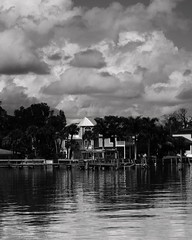 HOUSE IN BLACK AND WHITE (R. D. SMITH) Tags: house water clouds blackandwhite florida