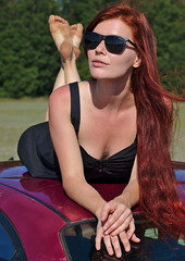 (Debarshi Ray) Tags: czech brno summer sunny city canon canoneos70d canonef50mmf18ii red hair redhead green trees leaves grass toyota avensis cars motorcar automobile vehicle sunglasses glasses nose lips cheeks chin ears neck shoulders arm hands fingers nails glass feet toes legs portrait pinup woman lady female girl babe model pretty beautiful gorgeous hot sexy reflection