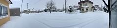 This Morning's View (sjrankin) Tags: 25january2020 edited panorama neighborhood houses roads cars lines wires snow wind garage clouds weather kitahiroshima hokkaido japan