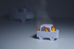 burnt out (CatMacBride) Tags: car accident fire ambulance paper papercraft