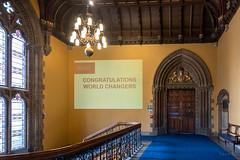 Congratulations to Them (Jocey K) Tags: tripukeroupe2019 june uk scotland thehunterianmuseum universityofglasgow detail ornate staircase door words sign lamps window stainglasswindow interior