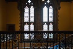 Ornate Railings (Jocey K) Tags: tripukeroupe2019 june uk scotland thehunterianmuseum universityofglasgow detail ornate staircase door lamps window stainglasswindow interior