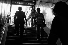 Up the Stairs (anthonypond) Tags: 50mmsummilux calcutta india kolkata leicam10 bw trainstation