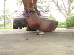 2092834270084418092koBIzG_fs (Zappacity) Tags: barefoot dirtyfoot sole anklets teen girl closeup pov driveway