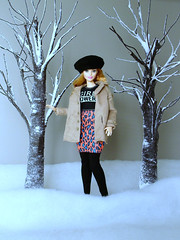 Between the trees (Deejay Bafaroy) Tags: barbie mattel doll puppe curvy mtm madetomove cap kappe snow schnee tree trees baum bäume diorama