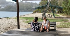 A stop and a chat during our Friday walk. (IMAGES JIGGS) Tags: currumbinestuary water palmbeach friends chat people