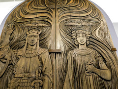 Temple of Peace Doors (EmperorNorton47) Tags: sandiegohistorycenter balboapark sandiego california photo digital winter interior exhibit museum woodcarving woodwork door temple theosophy mythology tristanandiseult tristanandisolde