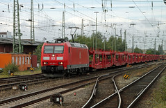 Empty autoracks (Schwanzus_Longus) Tags: bremen german germany modern railroad railway db deutsche bahn electric engine loco locomotive freight cargo train autorack bombardier traxx car cars