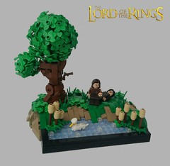 The Finding of the Ring (LegoHobbitFan) Tags: lego moc creation build model photography photo middle earth lotr hobbit lordoftherings smeagol ring tree river duck water green gollum deagol