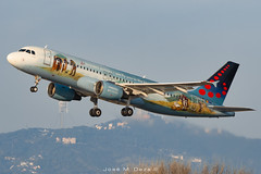 """Brussels A320-214 OO-SNE """"Brugel"""" livery (José M. Deza) Tags: 20200102 a320214 airbus bcn brusselsairlines elprat lebl oosne planespotting spotter aircraft"""