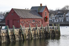 Motif #1 on a Still Day (brucetopher) Tags: motif motif1 motifno1 motifnumberone motifnumber1 one 1 red shack shed lobstershack lobster harbor fisherman lobsterman house building architecture newengland rockport rockportharbor water reflection reflect still calm winter windless quaint bay cove dock pilings wooden granite pier
