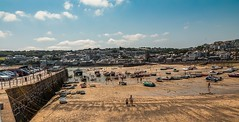 A Sunny St Ives (trevorhicks) Tags: cornwall england unitedkingdom naked nude sunny summer st ives people boats beach sky clouds outdoor pier wall rope cars town village buildings sand canon 5d mark iv tamron trees grass wide