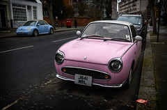 Pink and Blue (Ian Rosenthal) Tags: car nissan volkswagen beetle london figaro vw