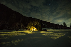 Haus im Risstal (clemensgilles) Tags: availablelight darkness nuit nightphotography nightsky night cold hiver winter snow schnee karwendel sternenhimmel stargazing haus illuminated alpen alps longexposure beautiful
