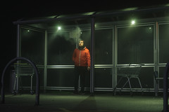Cold night at the bus stop (m.sabato57) Tags: lighting light cine streetphotography smoking winter cold transport transportation street