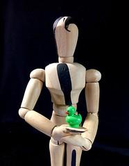 a ducky in the hand....... (muffett68 ☺ heidi ☺) Tags: 205365adadaduckadayday184 green rubberducky abirdinthehand aduckyinthehand mannequin lego woodrow