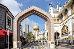 street view of singapore with Masjid Sultan (anekphoto) Tags: ancient church tradition outdoor road golden minaret old city exterior malaysia gold popular landscape islamic historical building pray landmark tower travel sultan culture urban prayer attraction singapore religion tour asian asia historic famous glam architecture construction street islam tourist dome monument masjid tourism muslim mosque religious arab kampong traditional history
