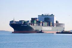 Ever Lenient (jelpics) Tags: cargoship commercialship containership conleyterminal everlenient merchantship liberty tug tugboats boat bos boston bostonharbor bostonma harbor massachusetts massport ocean port sea ship vessel
