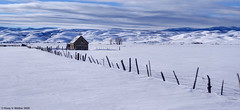 Little Barn, Big Valley - Panoramic Version (walkerross42) Tags: barn farm ranch fence valley mountains bearriverrange wasatch bearlakevalley montpelier bennington idaho snow winter cold clouds sky panorama