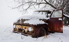 (Rodney Harvey) Tags: abandoned truck rust snow wet patina missouri clark county