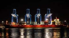 Longshoremen (swmartz) Tags: nikon outdoors philadelphia pennsylvania newjersey delaware delawareriver ship red boat cranes port river commerce january 2020 70200 28 lights