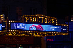 Proctor's Theatre Marquee (fotofish64) Tags: proctorstheatre marquee proctorsmarquee sign moviehouse lightedsign bulbsign historical historic theater urban downtown downtownschenectady city entertainment tourism newyork schenectadycounty schenectady capitaldistrict nightphotography night coloredlights nightlights logo outdoor pentax pentaxart kmount k70 smcpentaxdfa100mmf28macrolens primelens proctorsarcade