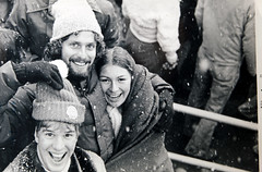Penn State Univ. VS Temple Univ. at Beaver Stadium--Nov. 1977 (waitingfortrain) Tags: psu pennstateuniversity templeuniversity collegefootbal friends footbal collegedays beaverstadium bw oldphoto 35mmfilm kodakplusxasa125film bwfilm oldbwprint psu1977 snow flurries blanket smiles happiness