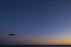 Moon over Long Point (brucetopher) Tags: sunset water sea ocean beach shore seashore cove bay sky skies moon night darkness dark cloud horizon light