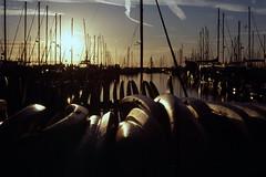 2020-01-25, 06h02m34s, boat, contrail, film, harbor, Kodak Ektachrome 100, morning, Santa Barbara, scan (markalanthomas) Tags: kodakektachrome100 santabarbara boat contrail film harbor morning scan