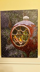 Christmas Fairy, Jan 2020 (ianulimac) Tags: paint brush acrylic acrylicpaint ianmacdonald crookedpinkiesart painting art canvas illustration fairy christmas pinetree christmasornament fireplace snow fairyworld winter night christmastree fairyhouse originalartwork originalart liquitex latex storyillustration customartwork custompainting commissionedart commission drawing cozy christmaslights pinecones frosty unionsuit firelight snug
