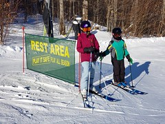 The Kids At The Rest Area (Joe Shlabotnik) Tags: everett 2020 snow sign okemo winter galaxys9 skiing january2020 cameraphone violet vermont