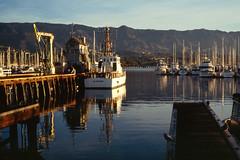 2020-01-25, 04h53m35s, Blackfin, boat, Coast Guard, film, harbor, Kodak Ektachrome 100, morning, Santa Barbara, scan (markalanthomas) Tags: blackfin coastguard kodakektachrome100 santabarbara boat film harbor morning scan