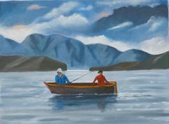 Fishing in the lake (Renoil L.) Tags: fishing lake renoilpainting lago cielo colori pescatori