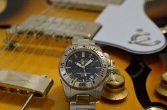 What Time? Music Time! (cnmark) Tags: uhr armbanduhr watch wrist automatic ball engineer hydrocarbon classici classic black dial face dm1016asjbk steel bracelet closeup electric guitar hollowbody epiphone casino coupe dogear p90t singlecoil pickups volume