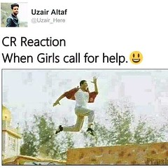 CR reaction when girls call for help (gagbee18) Tags: aww boys cr funny funnymemes girls help memes
