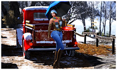 522 (dolceluna_myoo Photographer) Tags: addams maitreya genus amitie poses outfit jeans sweater umberella avatar sl mesh bento colors snow winter secondlife blogger bloggers image digitalart shopping walk beanie doux car panorama relax woman girl opted