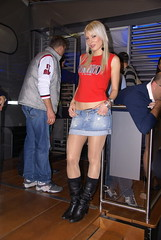 Bike expo model (themax2) Tags: 2008 bike expo blonde boots collant denim girl hostess miniskirt nylon padova promoter tights bikeexpo