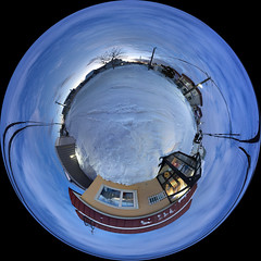 360° Panorama of the Neighborhood Late on a Winter Afternoon, variant (sjrankin) Tags: 25january2020 edited kitahiroshima hokkaido japan panorama neighborhood clouds snow road houses garage lines wires trees cars 360° 360°panorama genkan