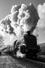 60009 departing Irwell vale (Nigel Valentine) Tags: 60009 union south africa a4 mono winter light backlit panasonic fz1000