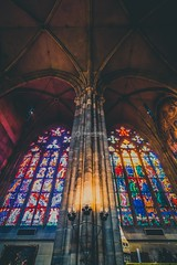 Interiors of St Vitus Cathedral In Prague Castle, Prague, Czech Republic (ThroughMyLens.In) Tags: architecture prague czechrepublic castle cathedral street medieval praguecastle stvituscathedral bohemian interiors stainglasses