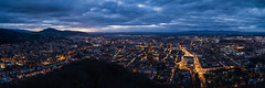 Freiburg blue hour panorama (MKF_images) Tags: freiburg leicaq2 leica city night lights landscape dark bluehour clouds sky stormy germany blackforest schwarzwald panorama