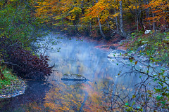 Autumn Scene in Vermont (USA) - forest, small canal with fog. (baddoguy) Tags: autumn leaf color awe backgrounds beauty in nature canal image copy space dawn famous place fog forest horizontal killington landscape scenery lush foliage majestic morning multi colored new england usa no people nonurban scene outdoor pursuit outdoors photography reflection river rural silence tourism tranquil tranquility travel destinations vermont waterfront