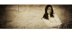 Alina #5 (madmtbmax) Tags: sepia toned portrait woman female donna kvinna femme porträt portrits portraiture studio flash background composition wave tuch feeling stimmung blackandwhite panorama nikon d850