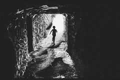 Out of the dark into the light (HeiJoWa) Tags: fz1000 lumix panasonic sw bw monochrom contrast kontrast light dark herrnergal creepy running black white blackwhite schwarzweiss